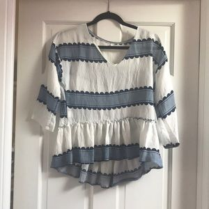 Blue and White Peplum Blouse